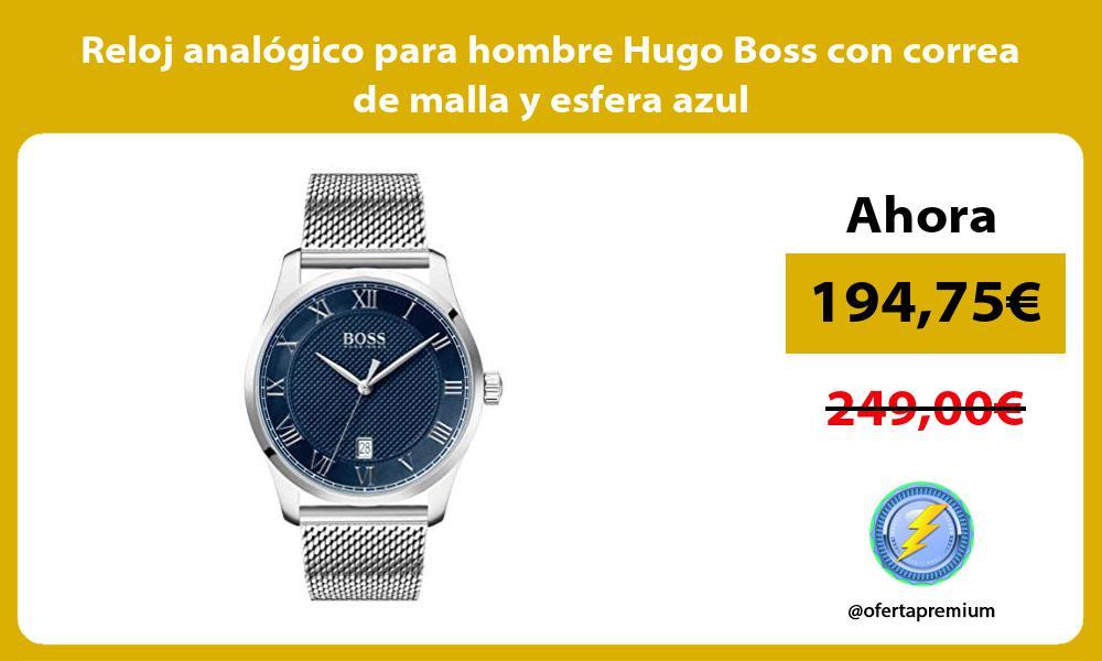 Reloj analógico para hombre Hugo Boss con correa de malla y esfera azul