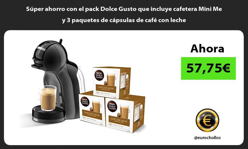 Súper ahorro con el pack Dolce Gusto que incluye cafetera Mini Me y 3 paquetes de cápsulas de café con leche