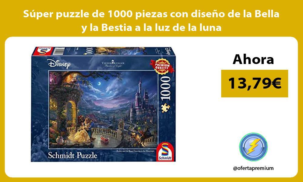 Súper puzzle de 1000 piezas con diseño de la Bella y la Bestia a la luz de la luna