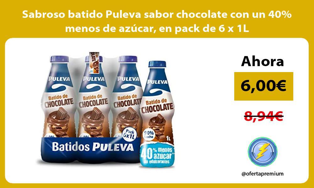 Sabroso batido Puleva sabor chocolate con un 40 menos de azúcar en pack de 6 x 1L