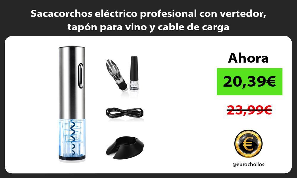 Sacacorchos eléctrico profesional con vertedor tapón para vino y cable de carga