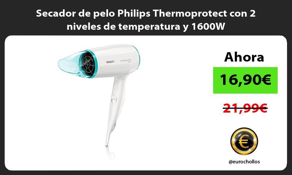 Secador de pelo Philips Thermoprotect con 2 niveles de temperatura y 1600W