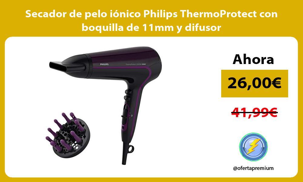 Secador de pelo iónico Philips ThermoProtect con boquilla de 11mm y difusor