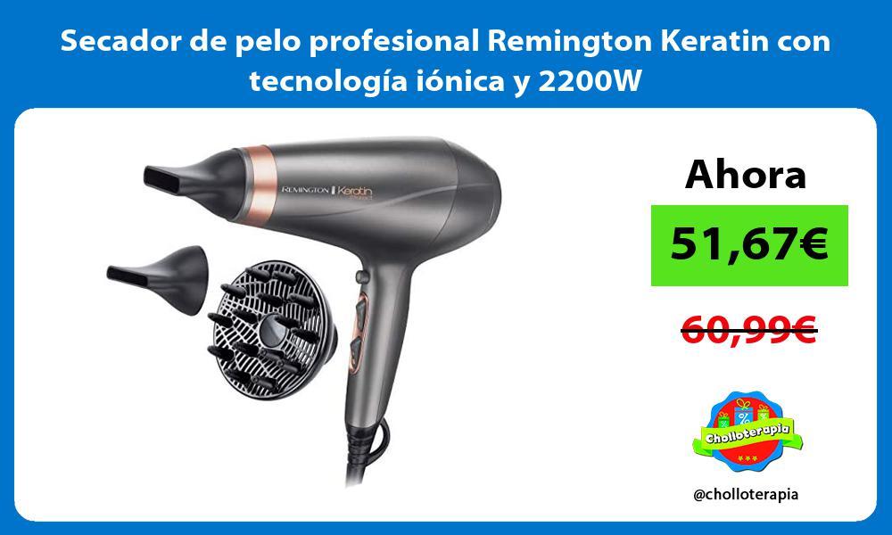 Secador de pelo profesional Remington Keratin con tecnología iónica y 2200W