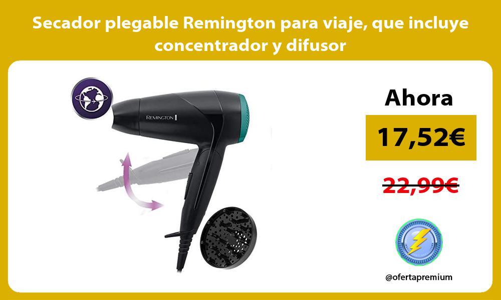 Secador plegable Remington para viaje que incluye concentrador y difusor