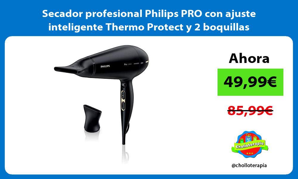 Secador profesional Philips PRO con ajuste inteligente Thermo Protect y 2 boquillas concentradoras