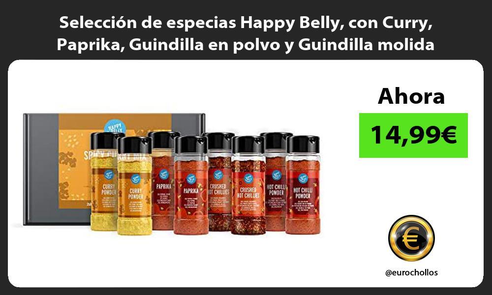 Selección de especias Happy Belly con Curry Paprika Guindilla en polvo y Guindilla molida