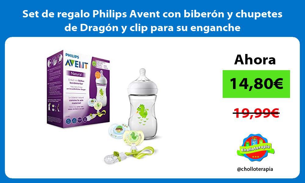 Set de regalo Philips Avent con biberón y chupetes de Dragón y clip para su enganche