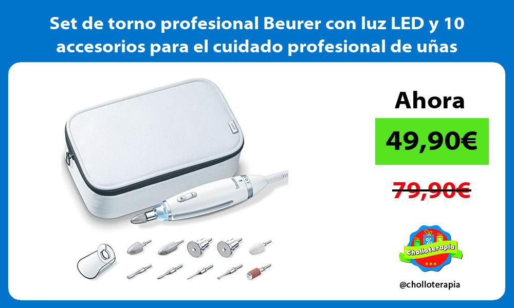 Set de torno profesional Beurer con luz LED y 10 accesorios para el cuidado profesional de uñas