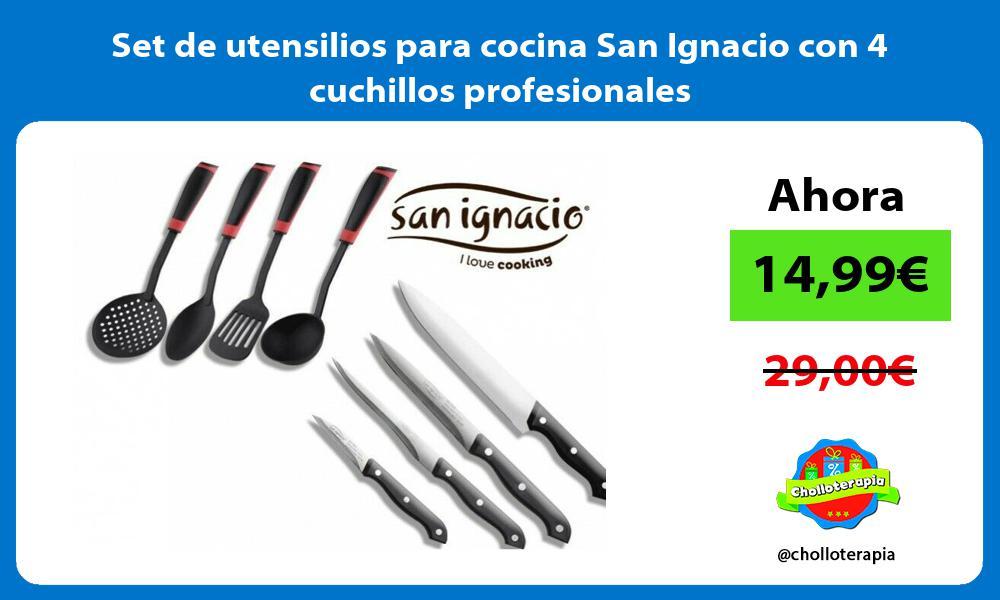 Set de utensilios para cocina San Ignacio con 4 cuchillos profesionales