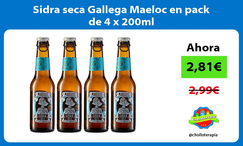 Sidra seca Gallega Maeloc en pack de 4 x 200ml
