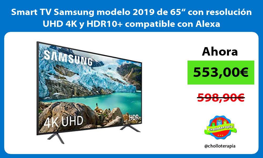 """Smart TV Samsung modelo 2019 de 65"""" con resolución UHD 4K y HDR10 compatible con Alexa"""