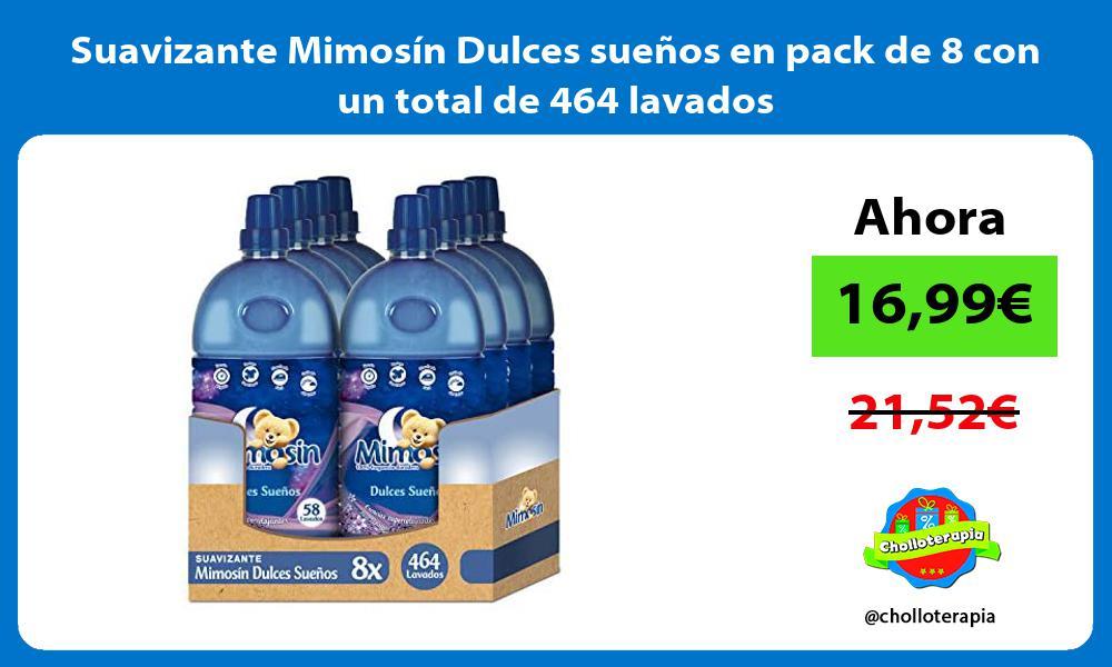Suavizante Mimosín Dulces sueños en pack de 8 con un total de 464 lavados