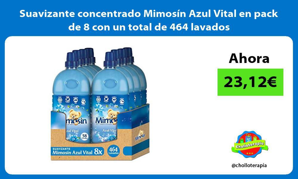 Suavizante concentrado Mimosín Azul Vital en pack de 8 con un total de 464 lavados