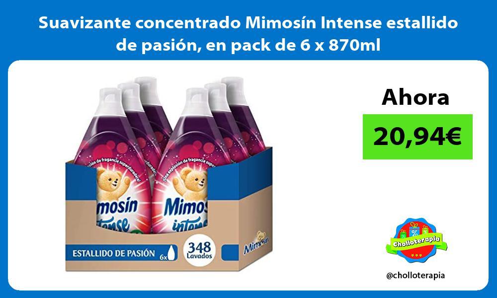 Suavizante concentrado Mimosín Intense estallido de pasión en pack de 6 x 870ml