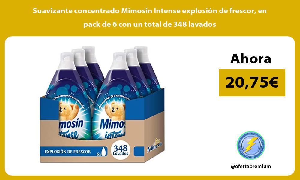 Suavizante concentrado Mimosin Intense explosión de frescor en pack de 6 con un total de 348 lavados