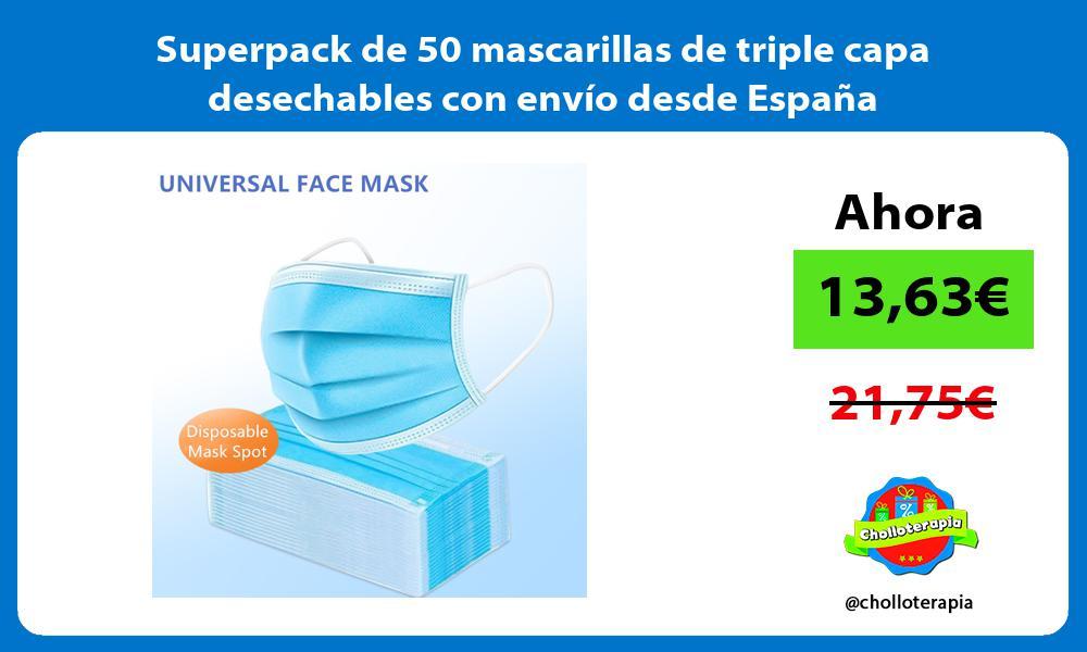 Superpack de 50 mascarillas de triple capa desechables con envío desde España