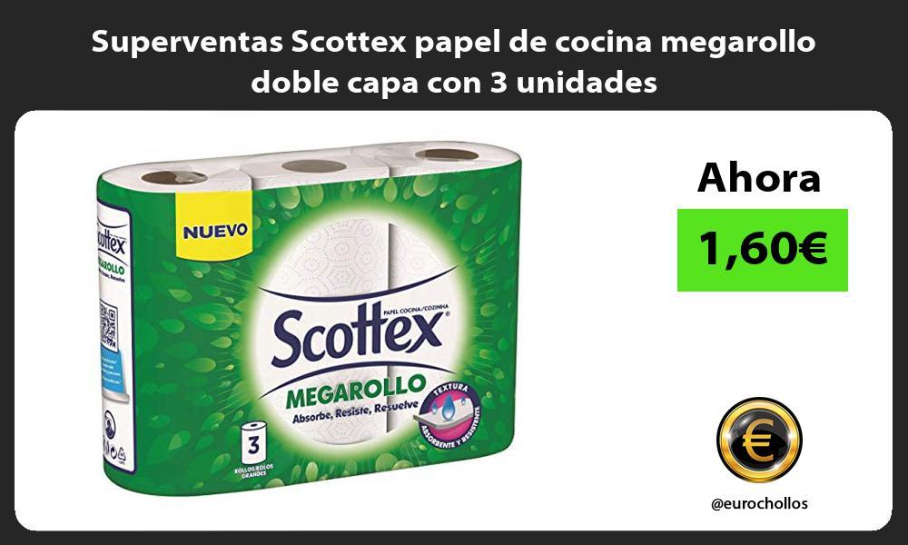 Superventas Scottex papel de cocina megarollo doble capa con 3 unidades