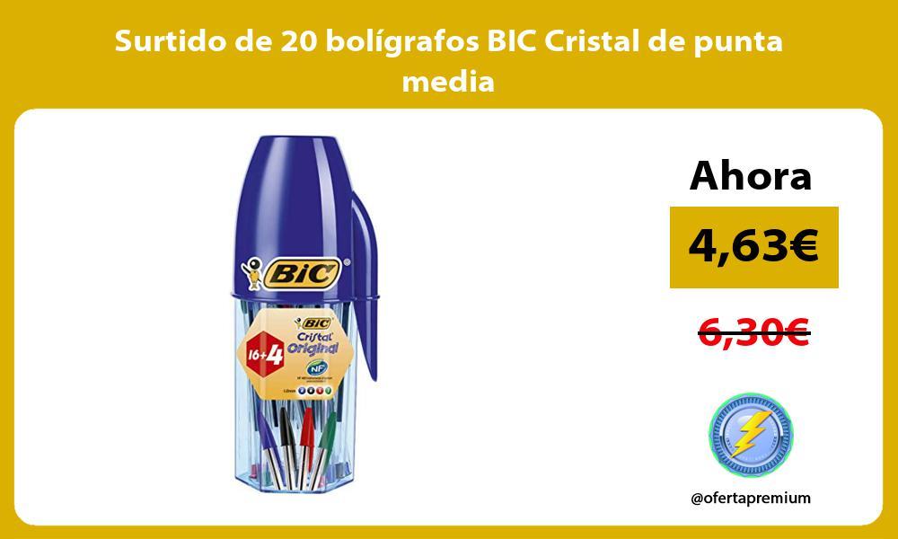 Surtido de 20 bolígrafos BIC Cristal de punta media