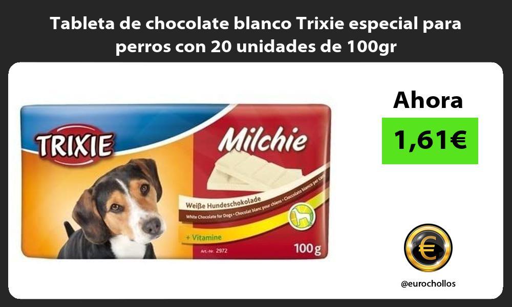 Tableta de chocolate blanco Trixie especial para perros con 20 unidades de 100gr