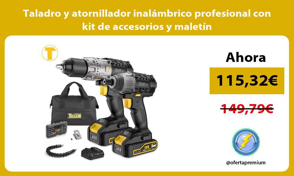 Taladro y atornillador inalámbrico profesional con kit de accesorios y maletín