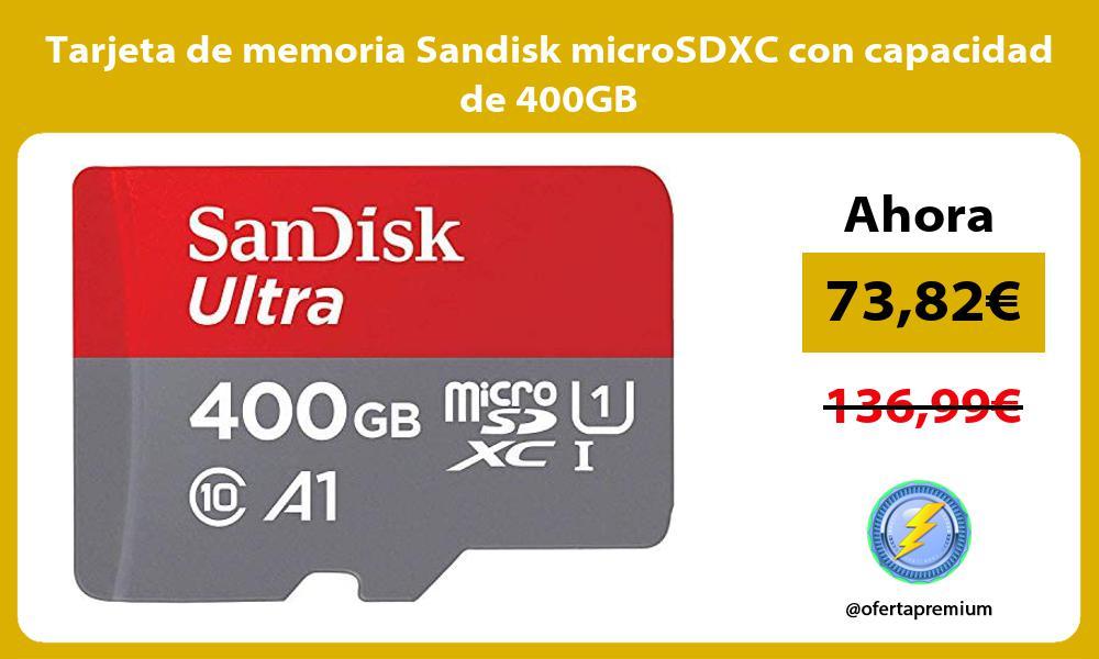 Tarjeta de memoria Sandisk microSDXC con capacidad de 400GB