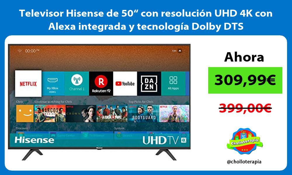 """Televisor Hisense de 50"""" con resolución UHD 4K con Alexa integrada y tecnología Dolby DTS"""