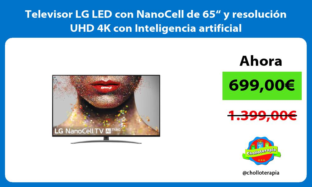 "Televisor LG LED con NanoCell de 65"" y resolución UHD 4K con Inteligencia artificial"