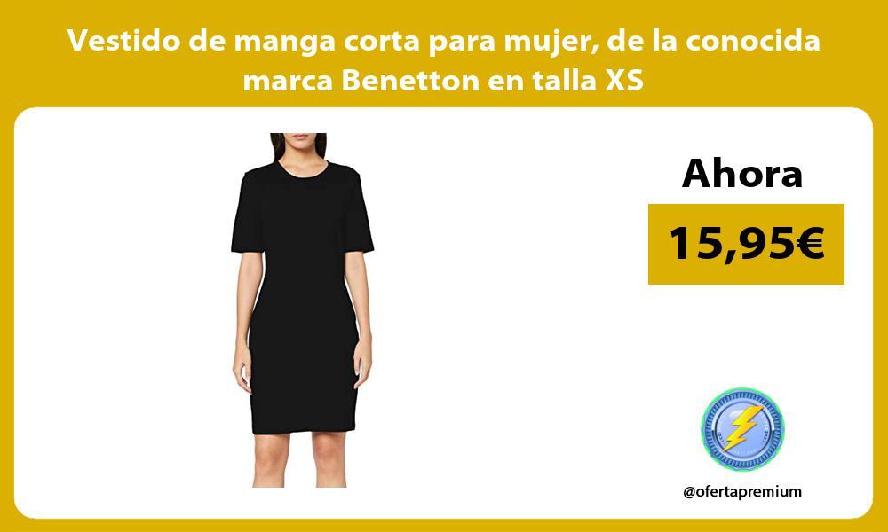 Vestido de manga corta para mujer de la conocida marca Benetton en talla XS
