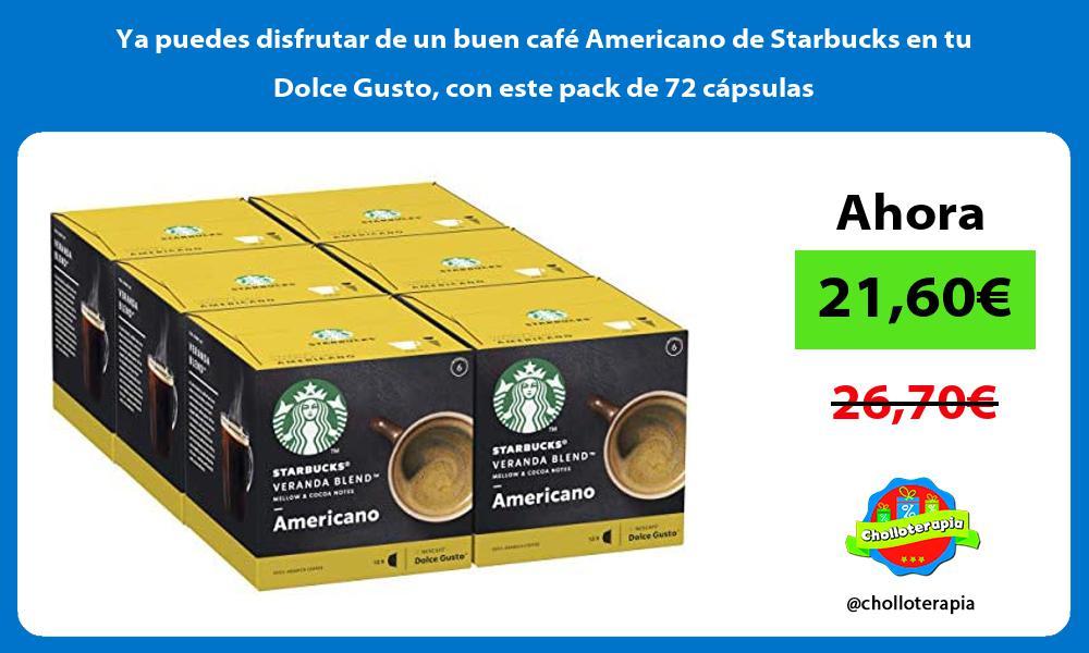 Ya puedes disfrutar de un buen café Americano de Starbucks en tu Dolce Gusto con este pack de 72 cápsulas