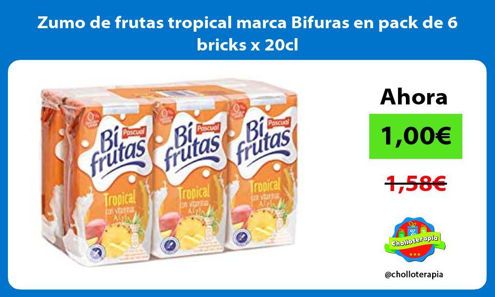 Zumo de frutas tropical marca Bifuras en pack de 6 bricks x 20cl
