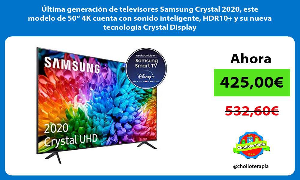 """ltima generación de televisores Samsung Crystal 2020 este modelo de 50"""" 4K cuenta con sonido inteligente HDR10 y su nueva tecnología Crystal Display"""