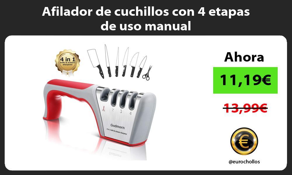 Afilador de cuchillos con 4 etapas de uso manual