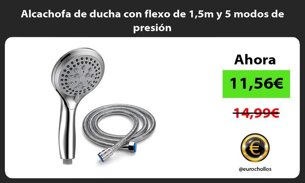 Alcachofa de ducha con flexo de 15m y 5 modos de presión