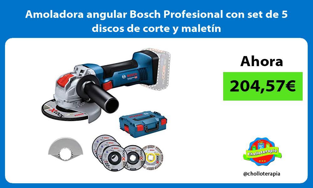 Amoladora angular Bosch Profesional con set de 5 discos de corte y maletín