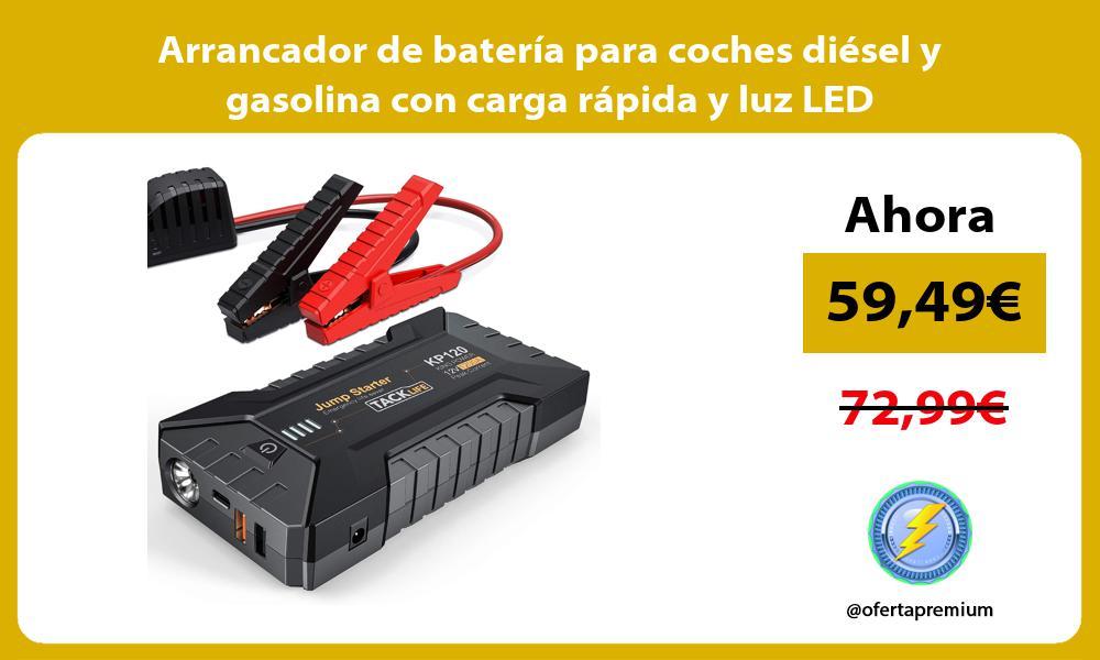 Arrancador de batería para coches diésel y gasolina con carga rápida y luz LED