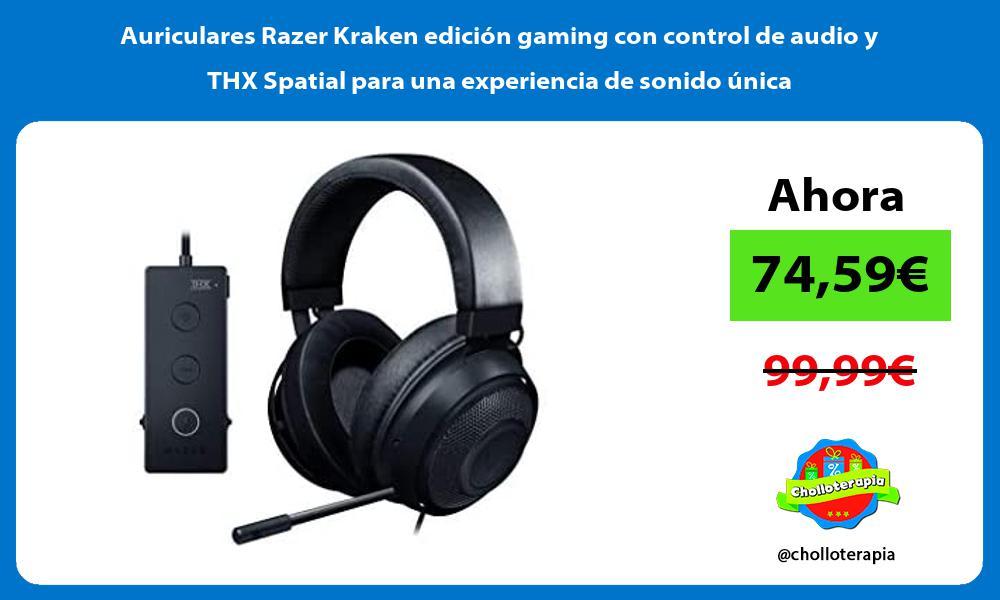 Auriculares Razer Kraken edición gaming con control de audio y THX Spatial para una experiencia de sonido única