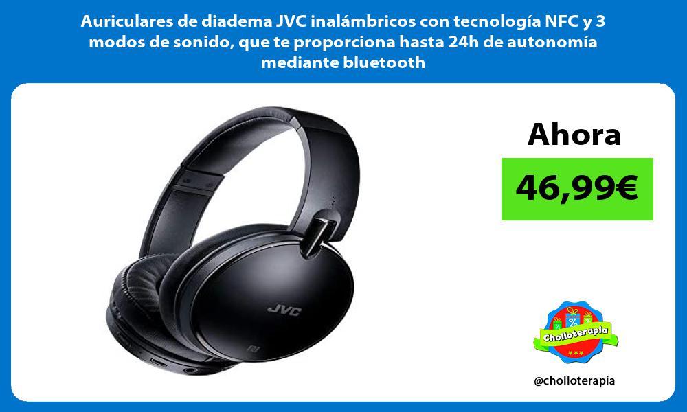 Auriculares de diadema JVC inalámbricos con tecnología NFC y 3 modos de sonido que te proporciona hasta 24h de autonomía mediante bluetooth