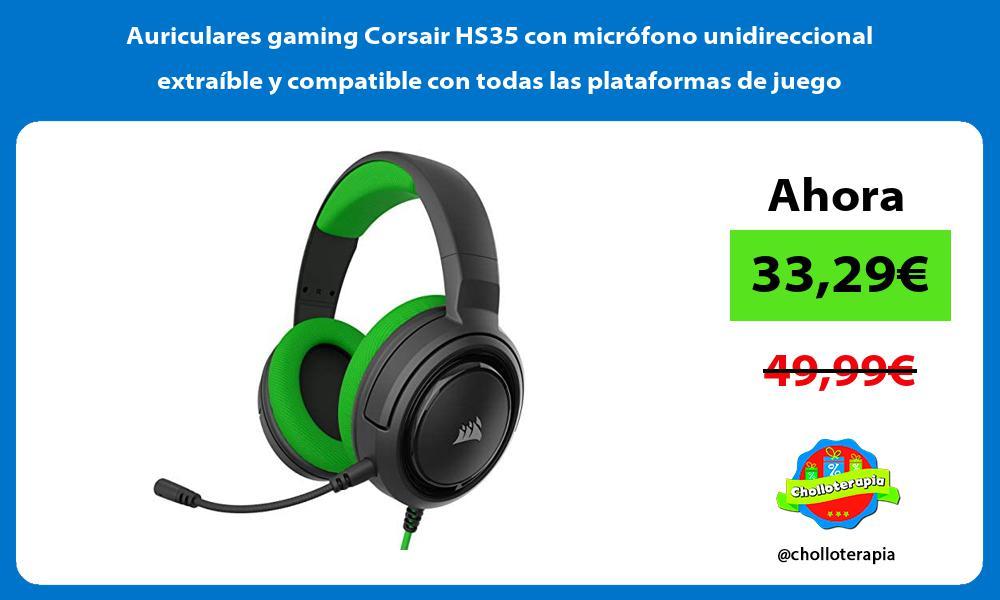 Auriculares gaming Corsair HS35 con micrófono unidireccional extraíble y compatible con todas las plataformas de juego