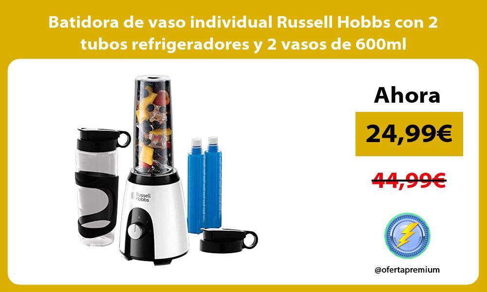 Batidora de vaso individual Russell Hobbs con 2 tubos refrigeradores y 2 vasos de 600ml