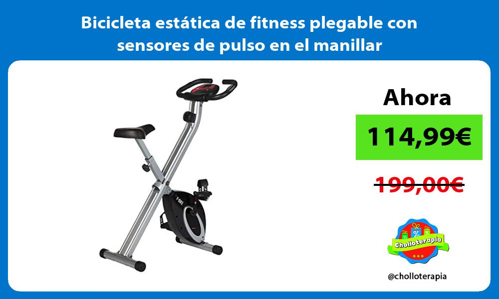 Bicicleta estática de fitness plegable con sensores de pulso en el manillar