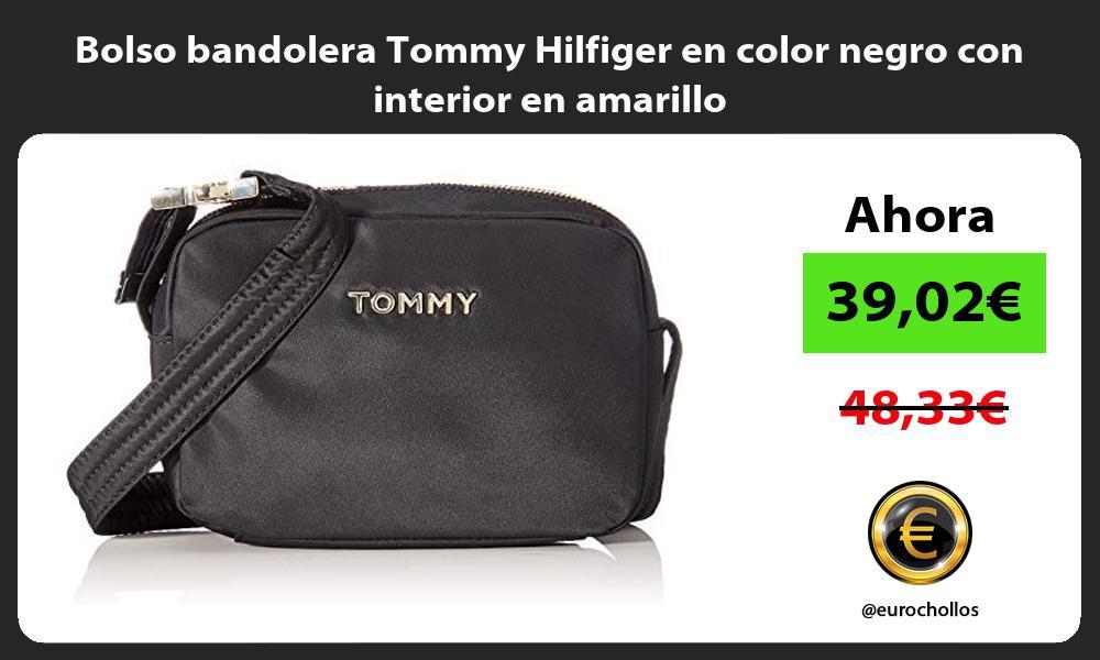 Bolso bandolera Tommy Hilfiger en color negro con interior en amarillo