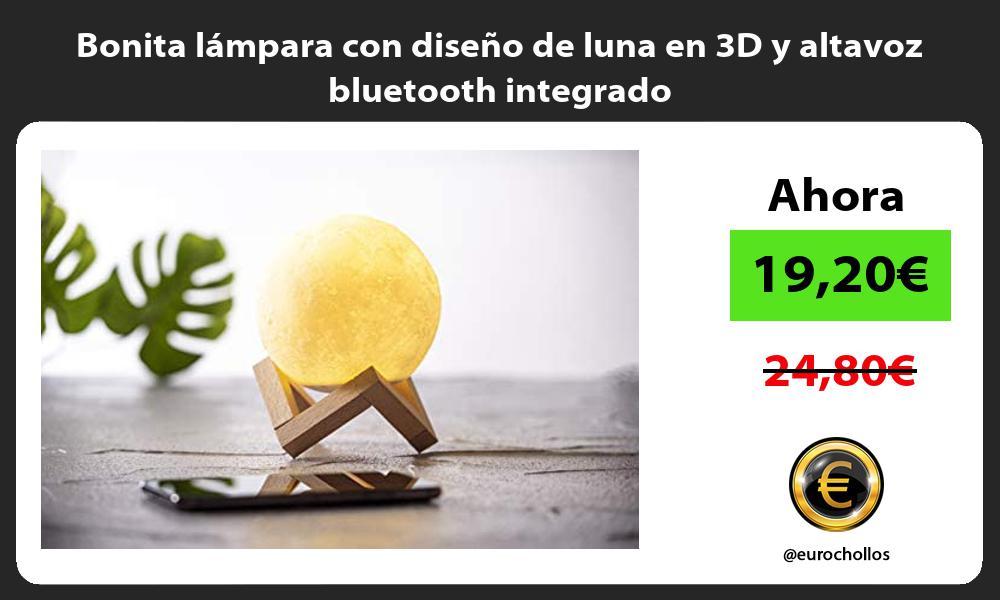 Bonita lámpara con diseño de luna en 3D y altavoz bluetooth integrado