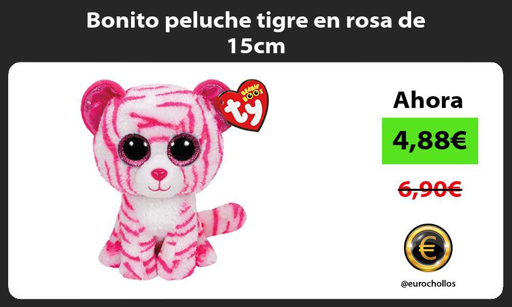 Bonito peluche tigre en rosa de 15cm