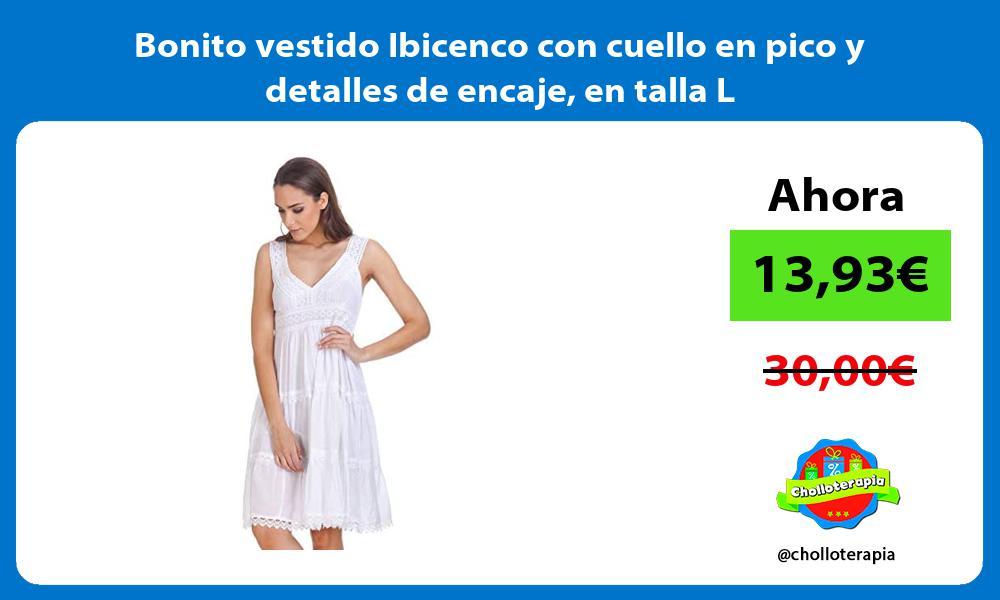 Bonito vestido Ibicenco con cuello en pico y detalles de encaje en talla L