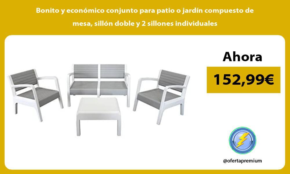 Bonito y económico conjunto para patio o jardín compuesto de mesa sillón doble y 2 sillones individuales