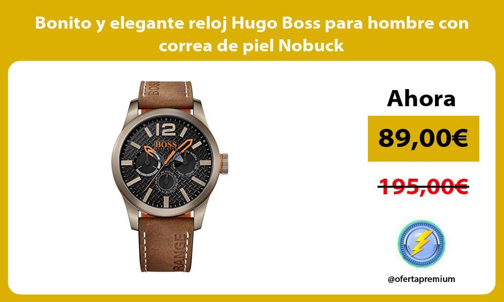 Bonito y elegante reloj Hugo Boss para hombre con correa de piel Nobuck