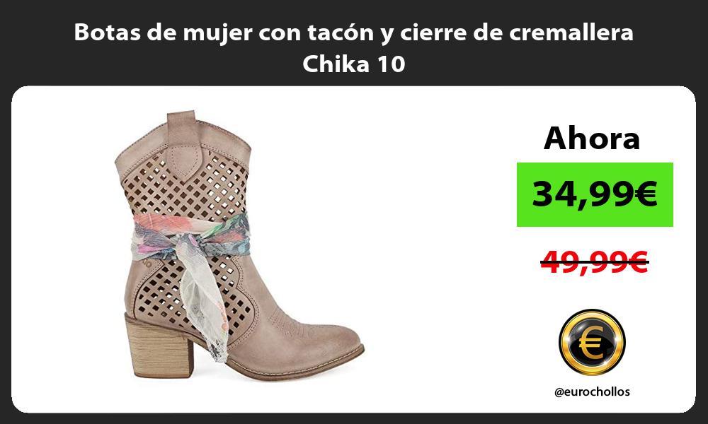 Botas de mujer con tacón y cierre de cremallera Chika 10
