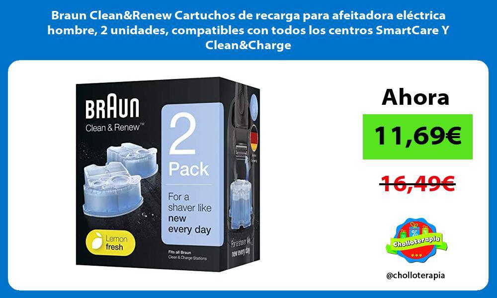 Braun CleanRenew Cartuchos de recarga para afeitadora eléctrica hombre 2 unidades compatibles con todos los centros SmartCare Y CleanCharge