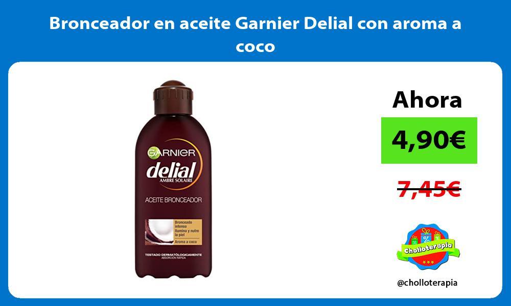 Bronceador en aceite Garnier Delial con aroma a coco